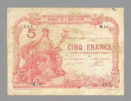 Billet Tahiti BIC 5 francs 1920