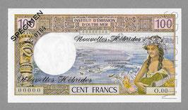 Nouvelles-Hébrides IÉOM 100 francs SPÉCIMEN (1972) K SP 903-1