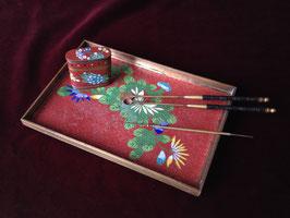 Petit plateau à opium en cloisonné