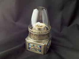 Lampe à opium en baitong et émaux champlevé
