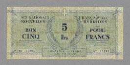 Nouvelles-Hébrides 5 francs  Services Nationaux (1943) KM 706 / P1