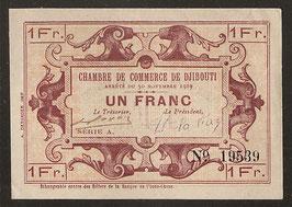 Bon de caisse de la Chambre de Commerce de Djibouti de un franc (1919)