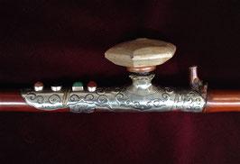 Belle pipe à opium en bambou, baitong et pierreries