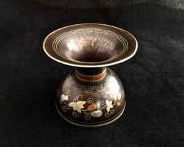 Petit crachoir/cendrier à opium en cuivre damasquiné