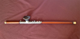 Pipe à opium de femme, en bambou et baitong décorée de pierreries