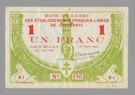 Tahiti Bon de caisse de la France-Libre 1 franc (1942)