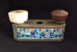 Porte-fourneaux de pipe à opium au décor émaillé
