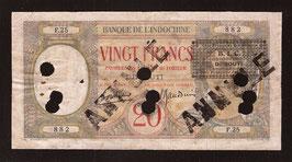 Djibouti billet de 20 francs surchargé : B. I. C. / DJIBOUTI, P12 - KM 620