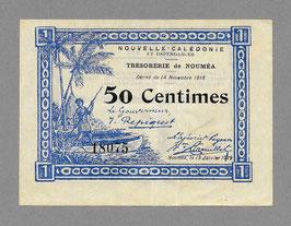Nouvelle-Calédonie - Bon de caisse du Trésor - 50c (3 lignes !) 1918