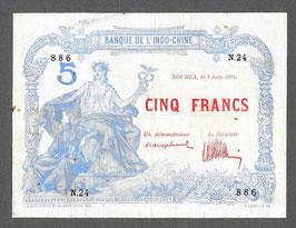 Nouvelle-Calédonie BIC 5 francs 1924