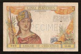 Billet Indochine BIC 5 piastres (1931) Spécimen