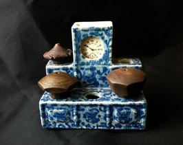 Porte-fourneaux de pipe à opium en porcelaine blanc-bleu