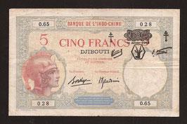 Djibouti billet de 5 francs surchargé : F. C. (1943) P 11 - KM 624