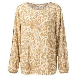 Blouse with pleated sleeves and leopard print