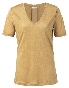 Linen V-neck T-shirt with satin tape on back