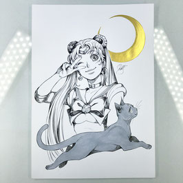 Sailor Moon Original Ink Drawing