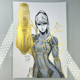 Samus Aran Original Ink Drawing
