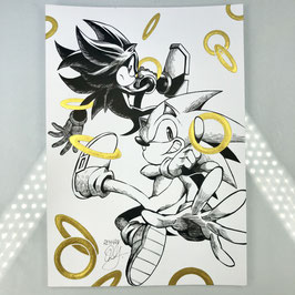 Sonic & Shadow Original Ink Drawing