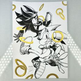 Sonic & Shadow Original Ink Drawing