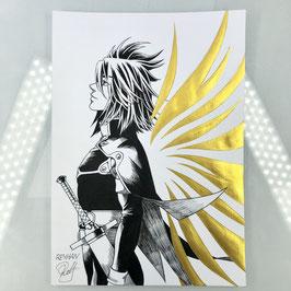 Kratos Aurion Original Ink Drawing