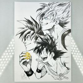 Son Goku Original Ink Drawing