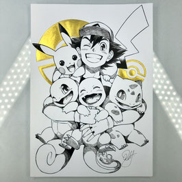 Pokemon Original Ink Drawing