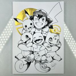 Pokemon Original Ink Drawing