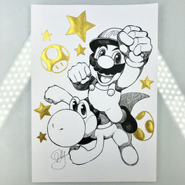 Mario & Yoshi Original Ink Drawing