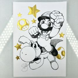 Mario & Yoshi Original Ink Drawing