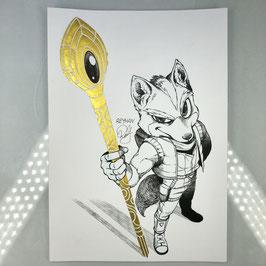 Fox McCloud Original Ink Drawing