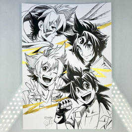 Beyblade Original Ink Drawing
