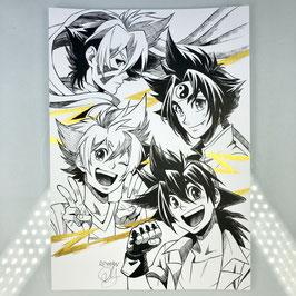 Beyblade Original Ink Drawing