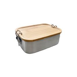 Brotzeitdose aus Edelstahl mit Holzdeckel