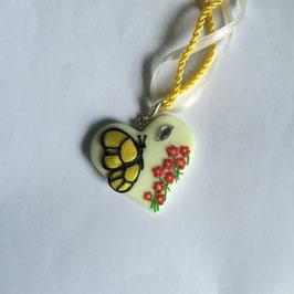 Schmetterling Gelb Herz (Untergrund Nachtleuchtend)