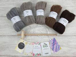 Handspindel-Set (naturfarbige Wolle)