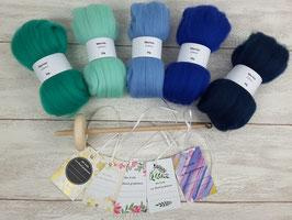 Handspindel-Set (Merino - blau/türkis)