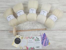 Handspindel-Set (naturweiße Wolle)