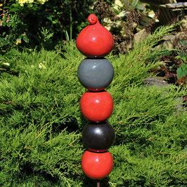 Gartenstele Rot-Schwarz-Grau