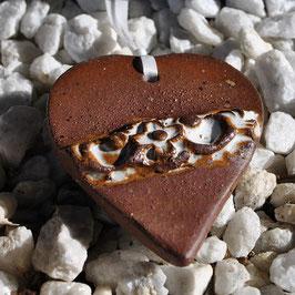 Steinzeug-Herz Schoko-Weiß