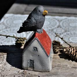 Raku-Häuschen mit Vogel