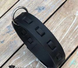 Hundehalsband Leder für große Hunde 3cm breit Edelstahl verstellbar 43cm mittlere Öse
