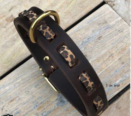 Hundehalsband Leopard Print, Leder 3 cm breit, verstellbar 43cm mittlere Öse