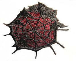 Spinnennetz halb Spitze mit bordeaux Voile unterlegt