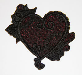 Herz Rosenranke klein mit bordeaux Voile unterlegt