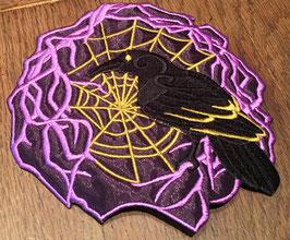 Rabe CRow im Netz mit Voile unterlegt gross 15x15cm