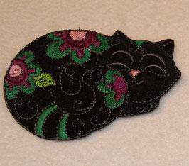 Katze geblümt schwarz rechts