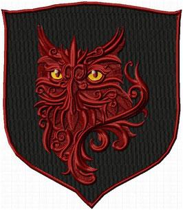 Wappen mit Eule schwarz