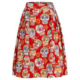 Hanna Skirt Happy Skulls Red