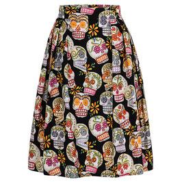 Hanna Skirt Happy Skulls Black