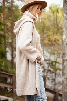 Bypias Hoodie wool jacket, beige